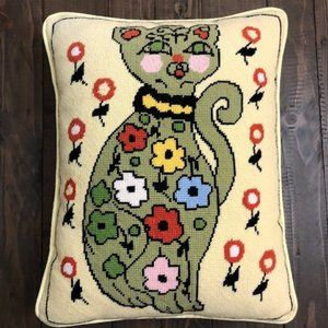 Needlepoint Tapestry Yellow Pillow w/ Colorful Cat